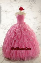 2015 Pretty Beading Quinceanera Dresses in Rose Pink FNAO744FOR