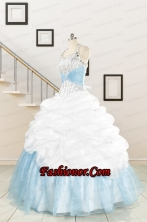 2015 Pretty Halter White and Blue Quinceanera Dress with Beading FNAO085FOR