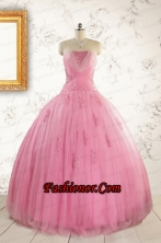 2015 Pretty Pink Quinceaneras Dresses with Appliques and Beading FNAO601FOR