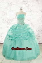 2015 Pretty Puffy Apple Green Sweet 16 Dresses with Beading FNAO646FOR