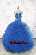 2015 Pretty Royal Blue Quinceanera Dresses with Appliques and Ruffles FNAO804FOR
