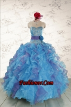 2015 Pretty Strapless Appliques and Ruffles QuinceDress in Multi Color FNAO5735FOR