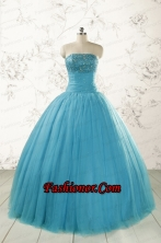 2015 Pretty Strapless Quinceanera Dresses with Beading  FNAO590FOR