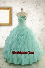 2015 Pretty Sweetheart Beading Quinceanera Dresses in Apple Green FNAO663FOR