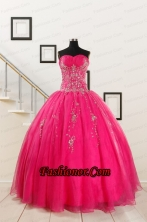 2015 Pretty Sweetheart Hot Pink Quinceanera Dresses with Beading FNAO209FOR