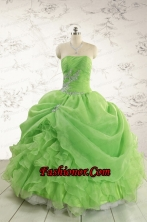 2015 Puffy Strapless Appliques Quinceanera Dresses in Spring Green FNAO5801FOR