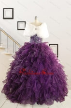 2015 Real Sample Beading and Ruffles Quinceanera Dresses in Purple FNAO698AFOR