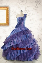 2015 Remarkable One Shoulder Hand Made Flowers and Ruffles Quinceanera Dresses  FNAO709FOR