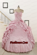 2015 Sweet Spaghetti Straps Beading Pink Quinceanera Dresses FNAO237FOR
