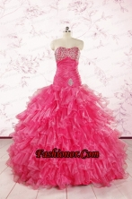 2015 Top Seller Sweetheart Hot Pink Quinceanera Dresses with  Ruffles  FNAO305FOR