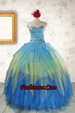 2015 Unique Sweetheart Beading Quinceanera Dresses in Multi-color FNAO5766FOR
