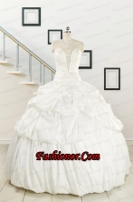 2015 White Taffeta Dresses For a Quinceanera with Beading and Pick Ups FNAO206FOR