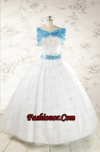Appliques White Cheap Quinceanera Dresses with Wraps for 2015  FNAO146AFOR