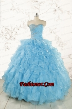Baby Blue 2015 Prefect Quinceanera Dresses with Beading and Ruffles FNAO011FOR