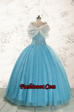 Ball Gown 2015 Baby Blue Quinceanera Dresses with Sweetheart FNAO5899BFOR