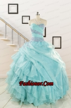 Beading and Ruffles Pretty Quinceanera Dresses in Turquoise for 2015 FNAO683FOR