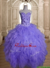 Beautiful Beaded and Ruffled Big Puffy Quinceanera Dress in Lavender SWQD142-4FOR