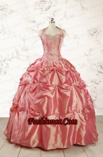 Beautiful Beading and Appliques Watermelon Red Sweet 16 Dresses FNAO144FOR