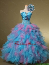 Beautiful Multi Color Hand Made Flowers and Beaded Quinceanera Dresses for 2015 Summer SWQD001FOR