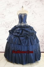 Cheap Navy Blue Quinceanera Dress with Embroidery and Pick Ups FNAO104FOR