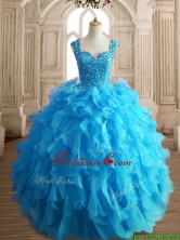 Cheap Straps Beading and Ruffles Quinceanera Dress in Aqua Blue SWQD152-3FOR