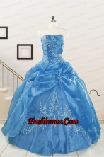 Classical Baby Blue Quinceanera Dresses with Embroidery for 2015  FNAO5773FOR