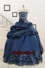 Custom Made Navy Blue Embroidery Quinceanera Dresses with Appliques FNAO5926FOR