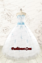 Discount Appliques and Beading White Ball Gown  Quinceanera Dresses FNAO107FOR