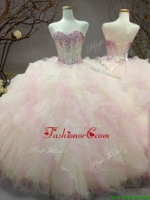 Elegant Beaded and Ruffled Organza Sweet 16 Dress in Rainbow SWQD106FOR