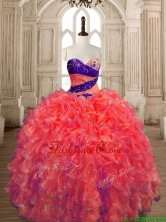 Exquisite Big Puffy Beaded and Ruffled Quinceanera Dress in Orange Red SWQD175-6FOR