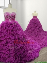 Gorgeous Rolling Flowers Court Train Quinceanera Gown with Beading SWQD109FOR