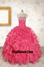 Hot Pink Strapless Beading and Ruffles Ball Gown 2015 Quinceanera Dresses  FNAO055FOR