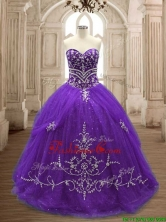 Hot Sale Brush Train Purple Quinceanera Dress with Appliques SWQD137-1FOR