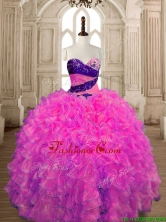 Inexpensive Big Puffy Hot Pink Quinceanera Dress with Beading and Ruffles SWQD175-2FOR