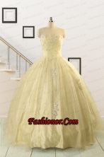 Latest Appliques Quinceanera Dress in Light Yellow For 2015 FNAO823FOR