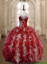 Latest Beaded Wine Red and White Sweet 15 Dress in Organza SWQD173-3FOR