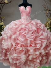 Low Price Beaded and Ruffled Sweet 16 Dress in Pink SWQD094FOR