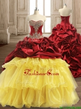 Luxurious Beaded and Ruffled Layers Quinceanera Dress with Brush Train SWQD127FOR