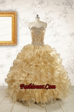 Luxurious Champange Quinceanera Dresses with Beading FNAO6031FOR
