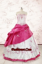 Luxurious Embroidery Sweet 15 Dresses in White and Hot Pink FNAO803FOR