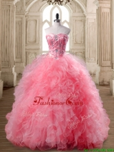 Luxurious Watermelon Red Sweet 16 Dress with Beading and Ruffles SWQD168-2FOR