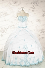 Modest Appliques Quinceanera Dresses in White for 2015 FNAO093FOR