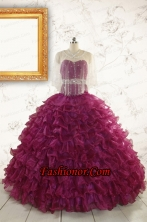 Modest Beading and Ruffles Quinceanera Dresses with Sweetheart FNAO049BFOR
