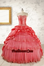 New Style Appliques Quinceanera Dresses in Watermelon FNAO147FOR