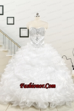 New Sweetheart Sweep Train Beading and Ruffles Quinceanera Dress for 2015  FNAO003FOR