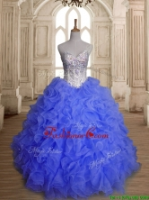 Perfect Blue Organza Quinceanera Dress with Beading and Ruffles SWQD149-1FOR