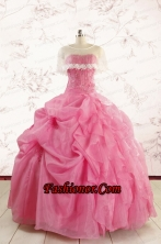 Perfect Rose Pink Quinceanera Gowns with Pick Ups for 2015 FNAO612BFOR