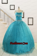 Perfect Spaghetti Straps Appliques Sequins Turquoise Quinceanera Dresses for 2015 FNAO715FOR