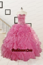 Pink 2015 Pretty Quinceanera Dresses Sweetheart with Ruffles FNAOA06FOR