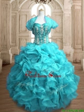 Popular Beaded and Ruffled Organza Quinceanera Dress in Teal SWQD153-1FOR